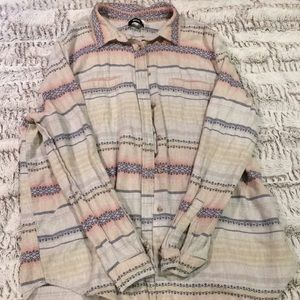 Grey, Blue, and Pink Women's Flannel Button Down